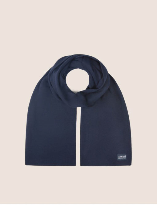 ARMANI EXCHANGE sciarpa tinta unita blu da uomo-3
