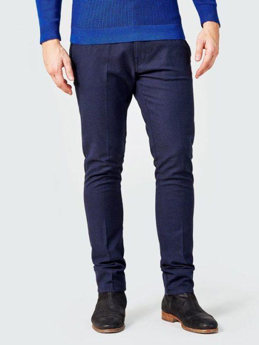GUESS pantalone chino micro quadretto blu da uomo-1