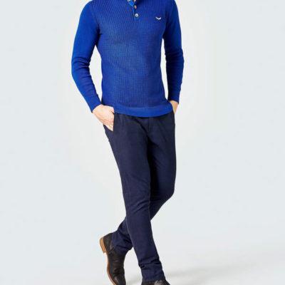GUESS pantalone chino micro quadretto blu da uomo