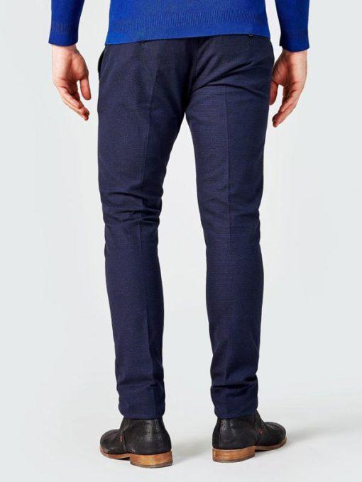 GUESS pantalone chino micro quadretto blu da uomo-3