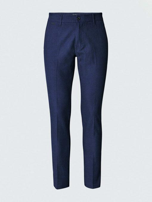 GUESS pantalone chino micro quadretto blu da uomo-4