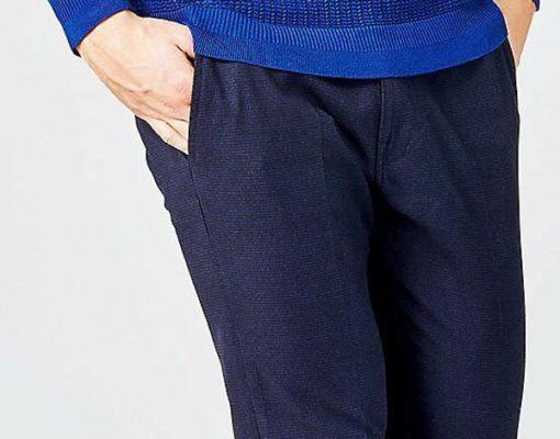 GUESS pantalone chino micro quadretto blu da uomo-2