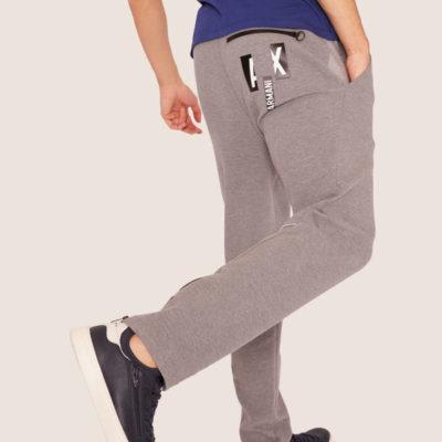Armani Exchange pantalone tuta grigio chiaro da uomo-2