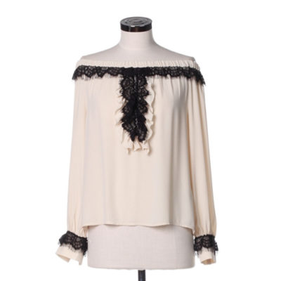 DENNY ROSE blusa con spalle nude manica lunga panna