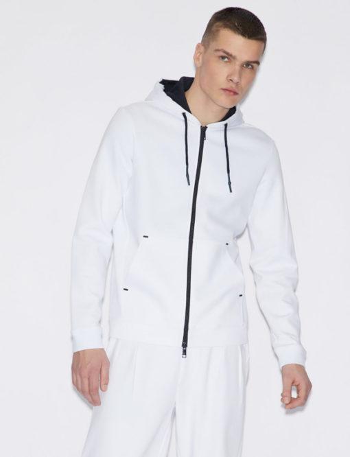 Felpa uomo Armani Exchange con cappuccio bianca -3
