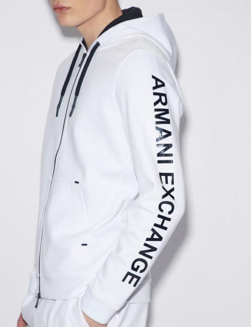 Felpa uomo Armani Exchange con cappuccio bianca -1