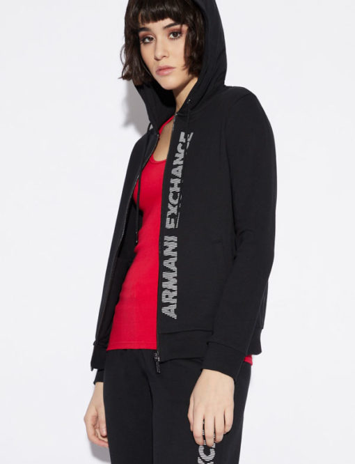 Armani Exchange felpa con zip e cappuccio da donna
