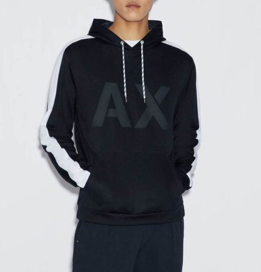 Armani Exchange felpa uomo con logo AX e cappuccio