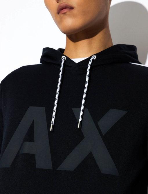Armani Exchange felpa uomo con logo AX e cappuccio-4