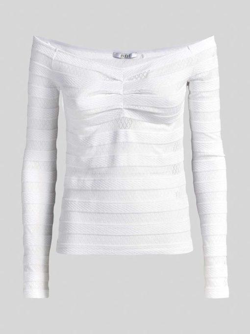 GUESS maglia traforata bianca con spalle nude-2