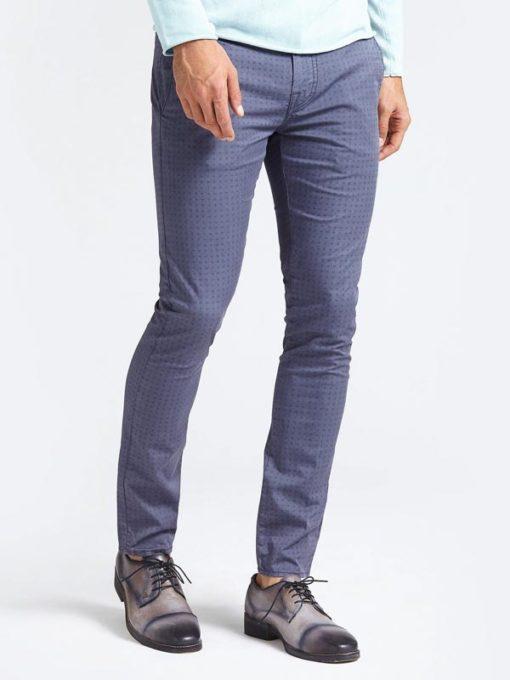 GUESS pantalone in microfantasia blu da uomo