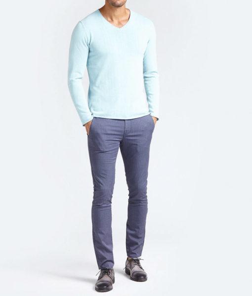GUESS pantalone in microfantasia blu da uomo-1