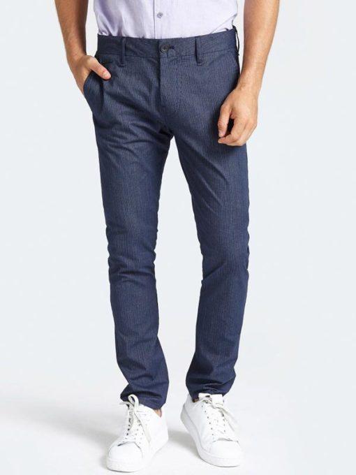 GUESS Pantalone da uomo blu con riga sottile