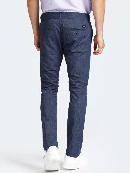 GUESS Pantalone da uomo blu con riga sottile-4
