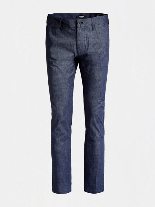 GUESS Pantalone da uomo blu con riga sottile-1