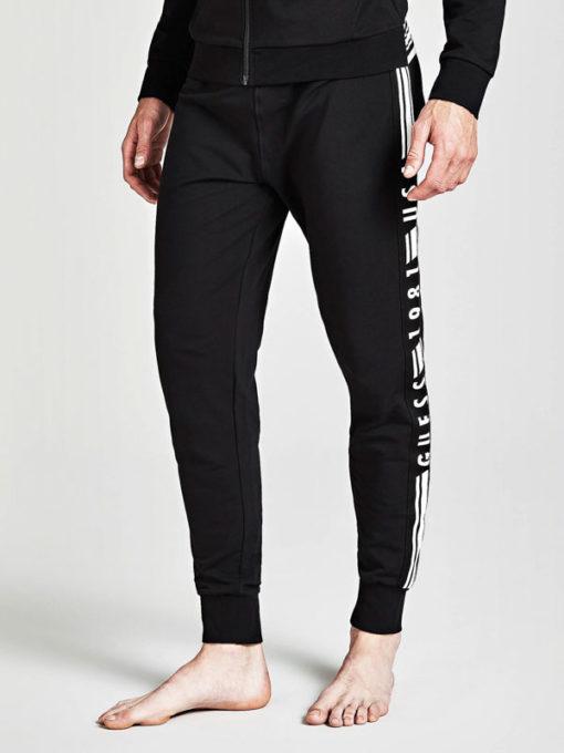 GUESS pantalone uomo tuta nero con scritte-1