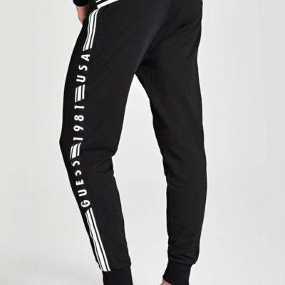 GUESS pantalone uomo tuta nero con scritte