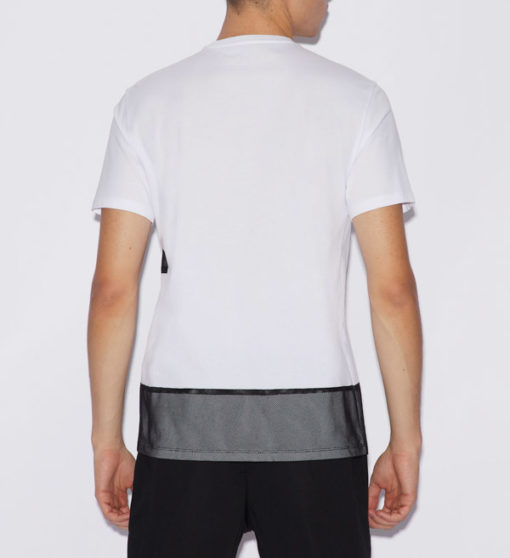 Armani Exchange t-shirt bianca con rete uomo-2