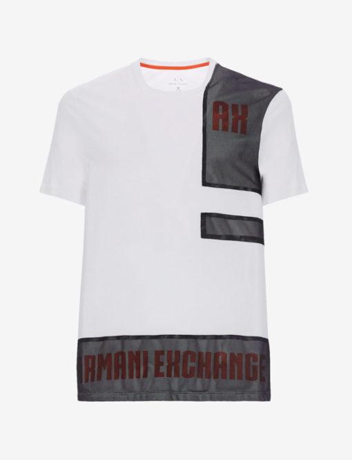 Armani Exchange t-shirt bianca con rete uomo-1