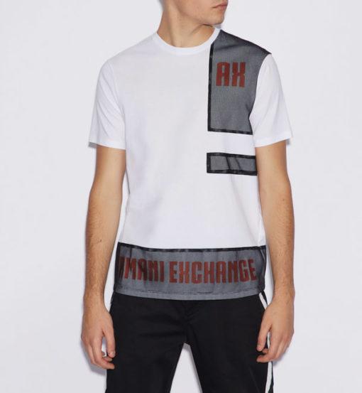 Armani Exchange t-shirt bianca con rete uomo
