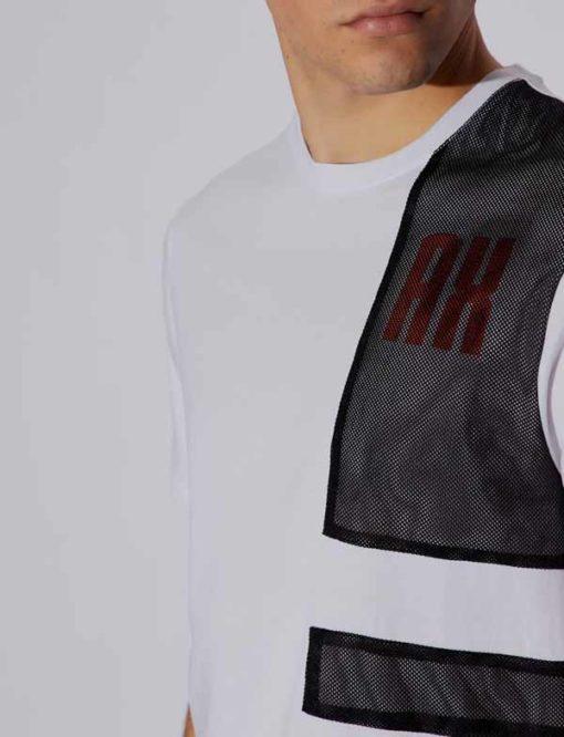Armani Exchange t-shirt bianca con rete uomo-3