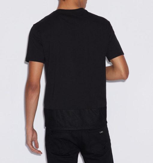 Armani Exchange t-shirt nera con rete uomo-2