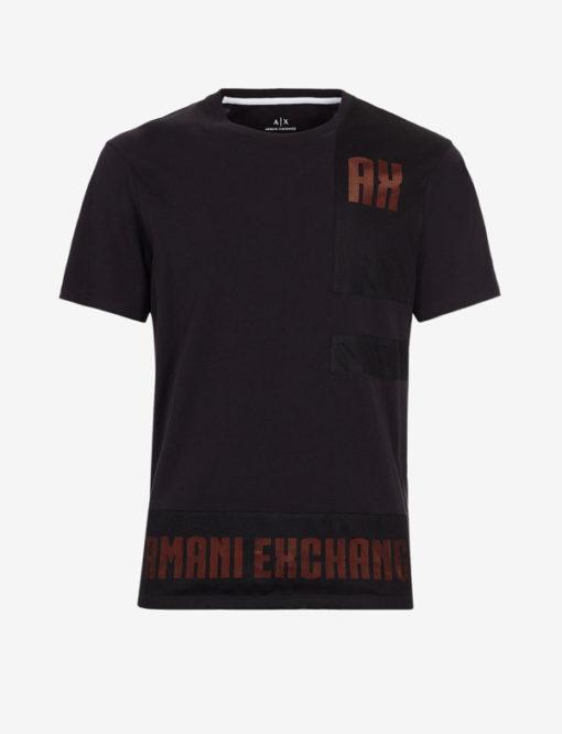 Armani Exchange t-shirt nera con rete uomo-1