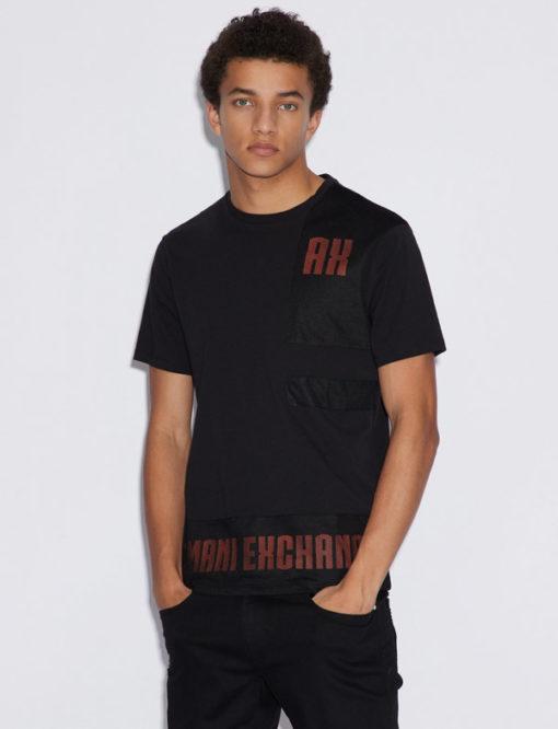 Armani Exchange t-shirt nera con rete uomo
