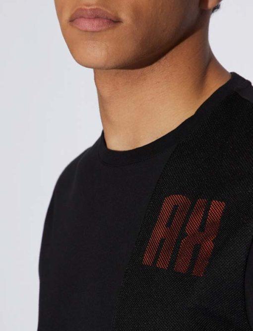 Armani Exchange t-shirt nera con rete uomo-3