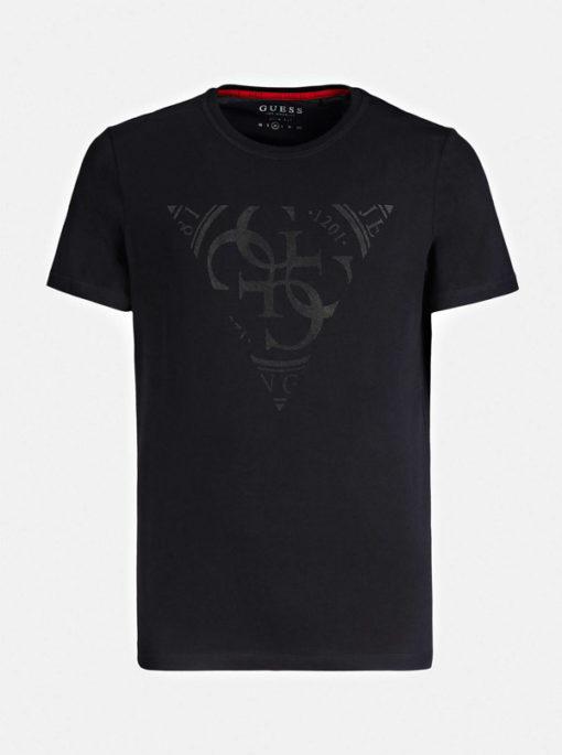 GUESS t-shirt uomo nera con logo centrale con 4G-4