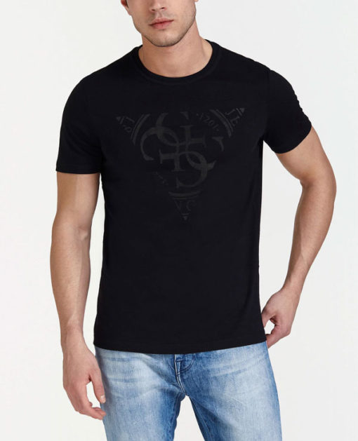 GUESS t-shirt uomo nera con logo centrale con 4G