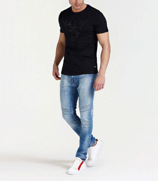GUESS t-shirt uomo nera con logo centrale con 4G-2