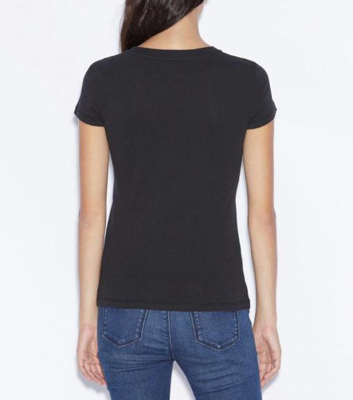 Maglietta nera con scritta ARMANI gialla -4