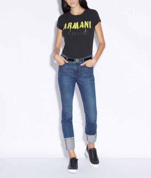 Maglietta nera con scritta ARMANI gialla -2