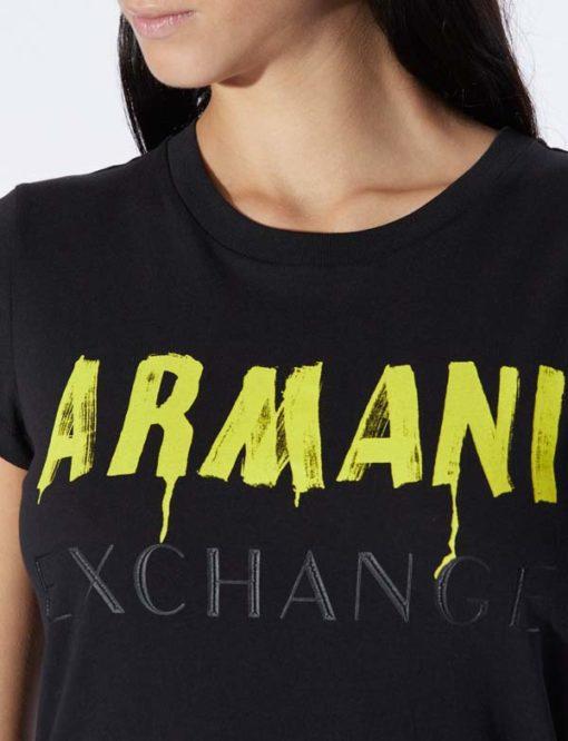 Maglietta nera con scritta ARMANI gialla -3