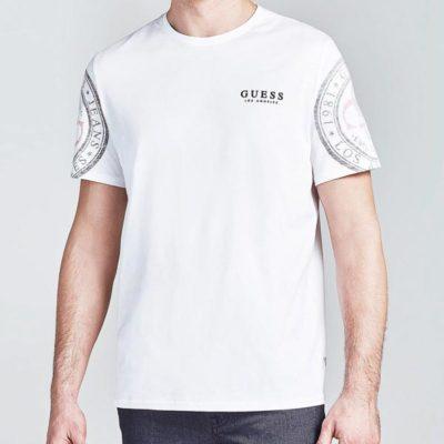 GUESS t-shirt da uomo con logo sulle braccia