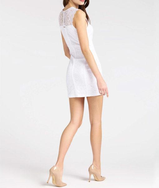 Abito donna GUESS elegante corto in pizzo bianco-2