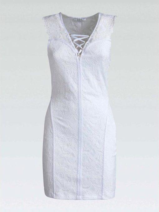Abito donna GUESS elegante corto in pizzo bianco-1
