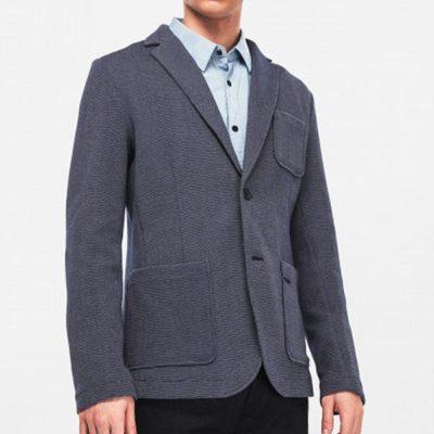 GUESS giacca in microfantasia blu da uomo