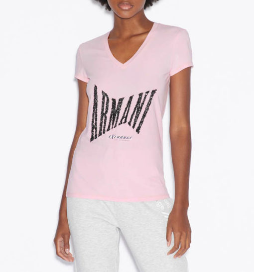 T-shirt Armani Exchange a v da donna con paillettes
