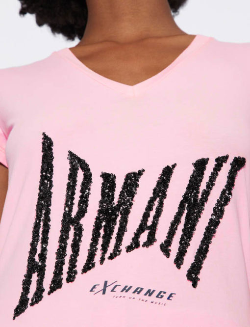 T-shirt Armani Exchange a v da donna con paillettes-2