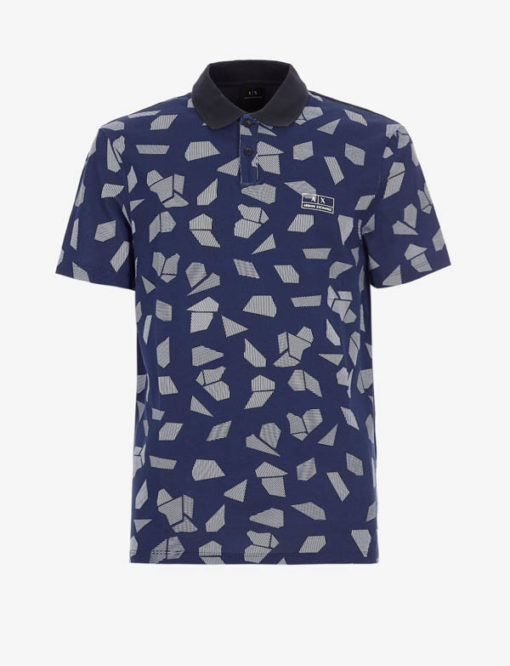POLO ARMANI EXCHANGE DA UOMO IN FANTASIA BLU-3