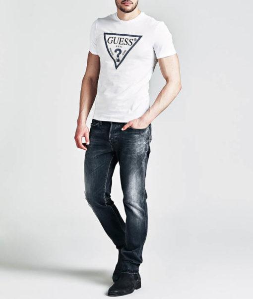 GUESS maglietta da uomo con logo a triangolo-3
