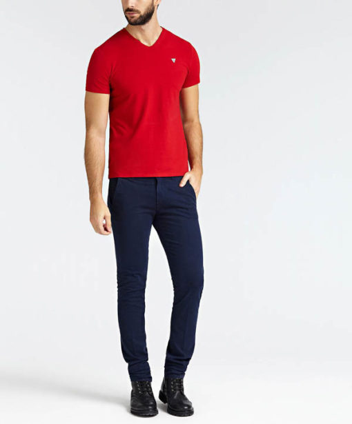 GUESS t-shirt a v tinta unita da uomo-1