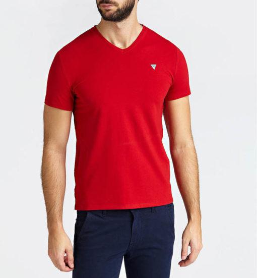GUESS t-shirt a v tinta unita da uomo