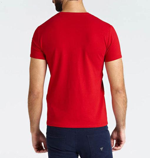 GUESS t-shirt a v tinta unita da uomo-3