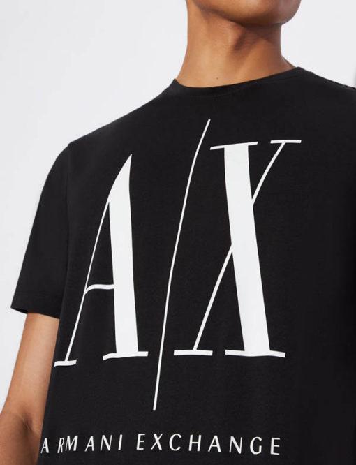 ARMANI EXCHANGE maglietta da uomo nero logo A|X -1
