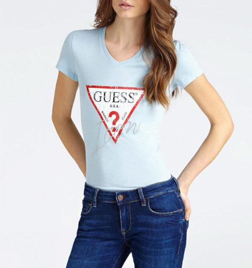 GUESS maglietta donna con logo triangolo e strass-3