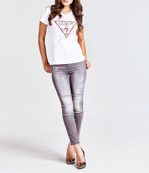 GUESS maglietta donna con logo triangolo e strass-4
