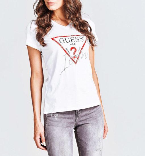 GUESS maglietta donna con logo triangolo e strass